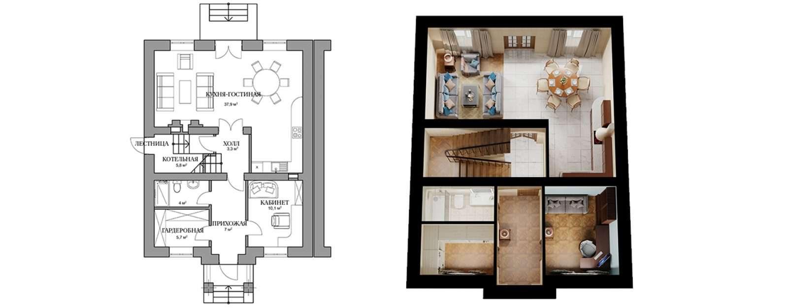 Дуплекс «Полли» - план первого этажа