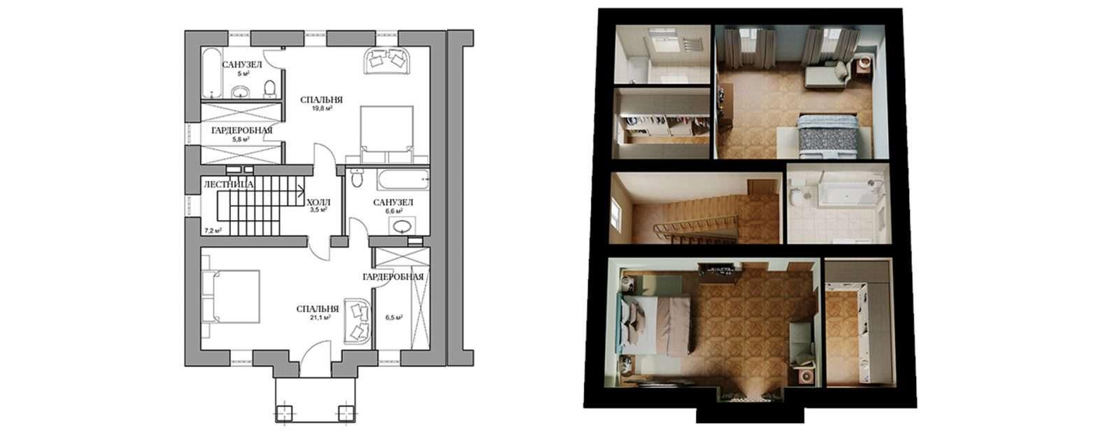 Дуплекс «Полли» - план второго этажа