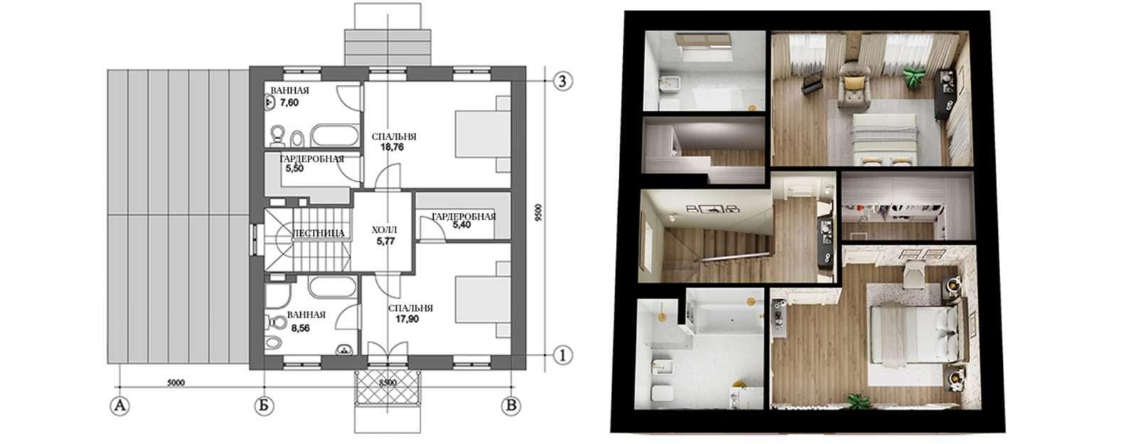 Коттедж «Агата» - план второго этажа