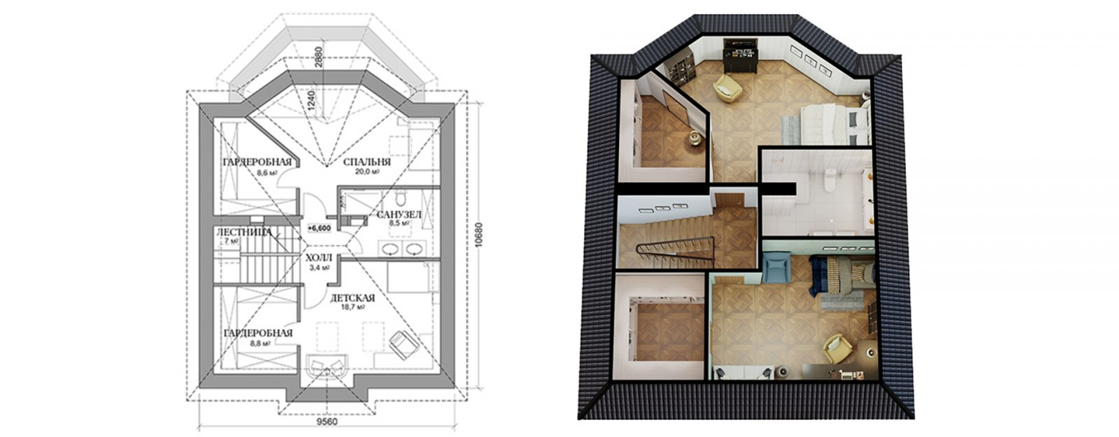 """Планировка мансардного этажа коттеджа """"Оливия"""""""