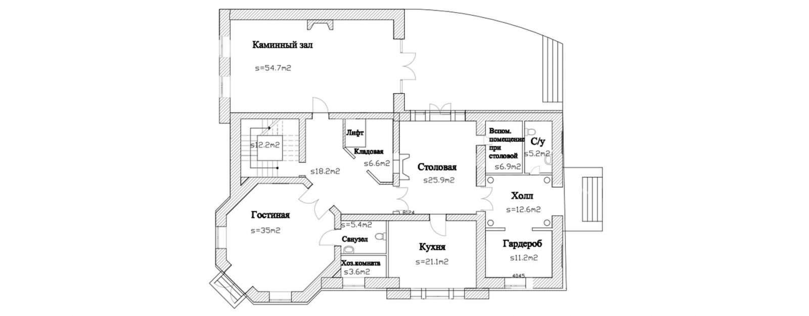 План первого этажа классической усадьбы