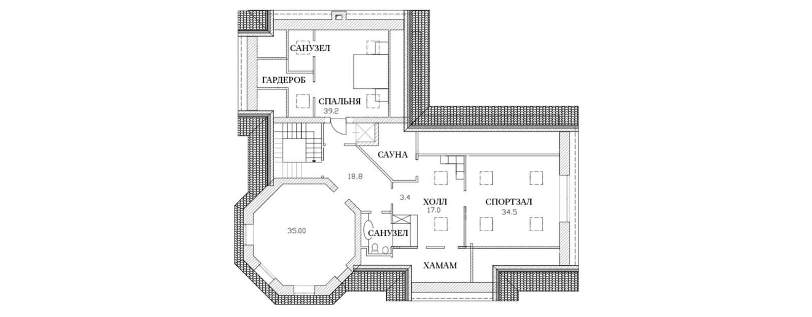 План третьего этажа классической усадьбы
