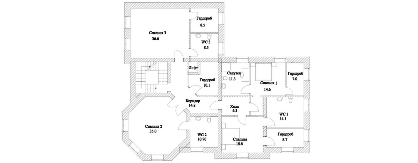 План второго этажа классической усадьбы