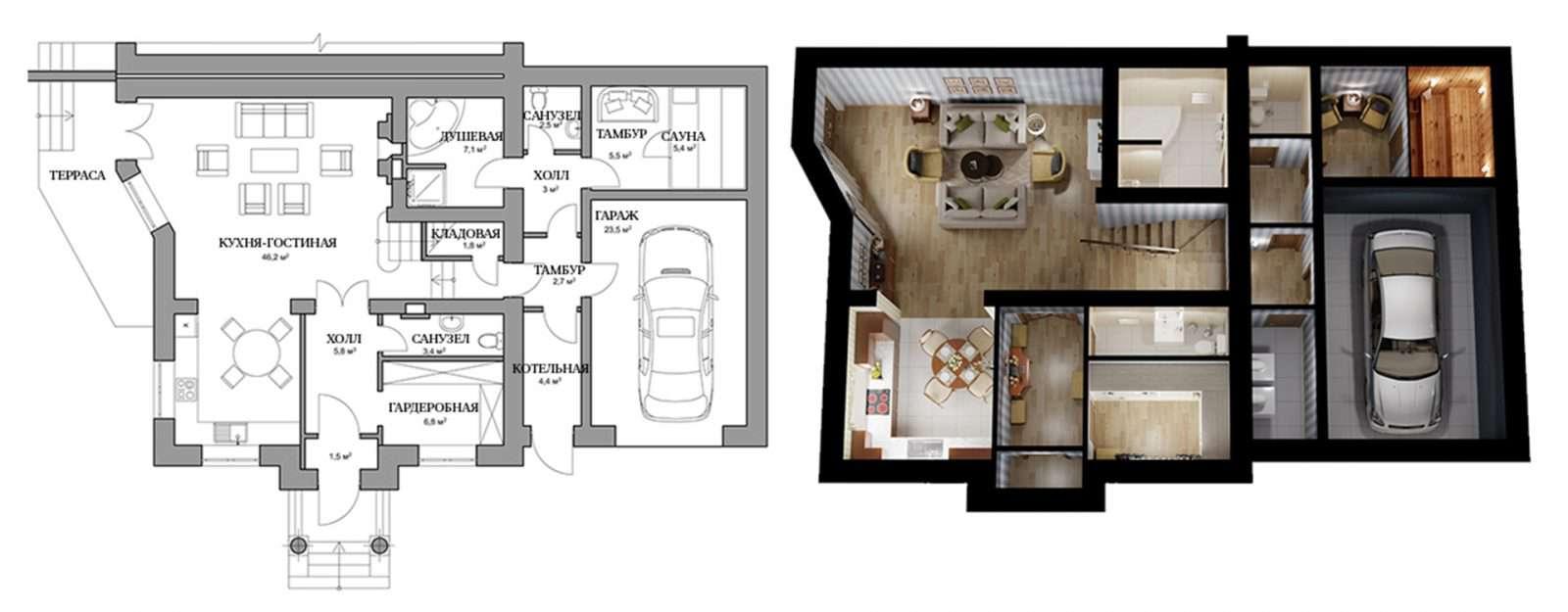 Дуплекс «Глория» - план первого этажа