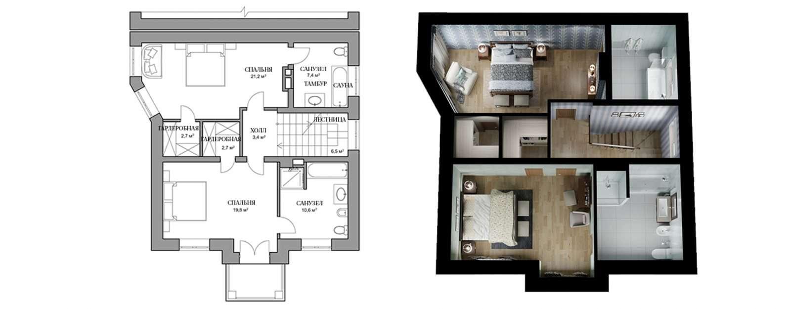 Дуплекс «Глория» - план второго этажа