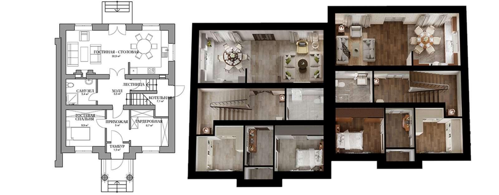 Дуплекс «Саманта» - план первого этажа