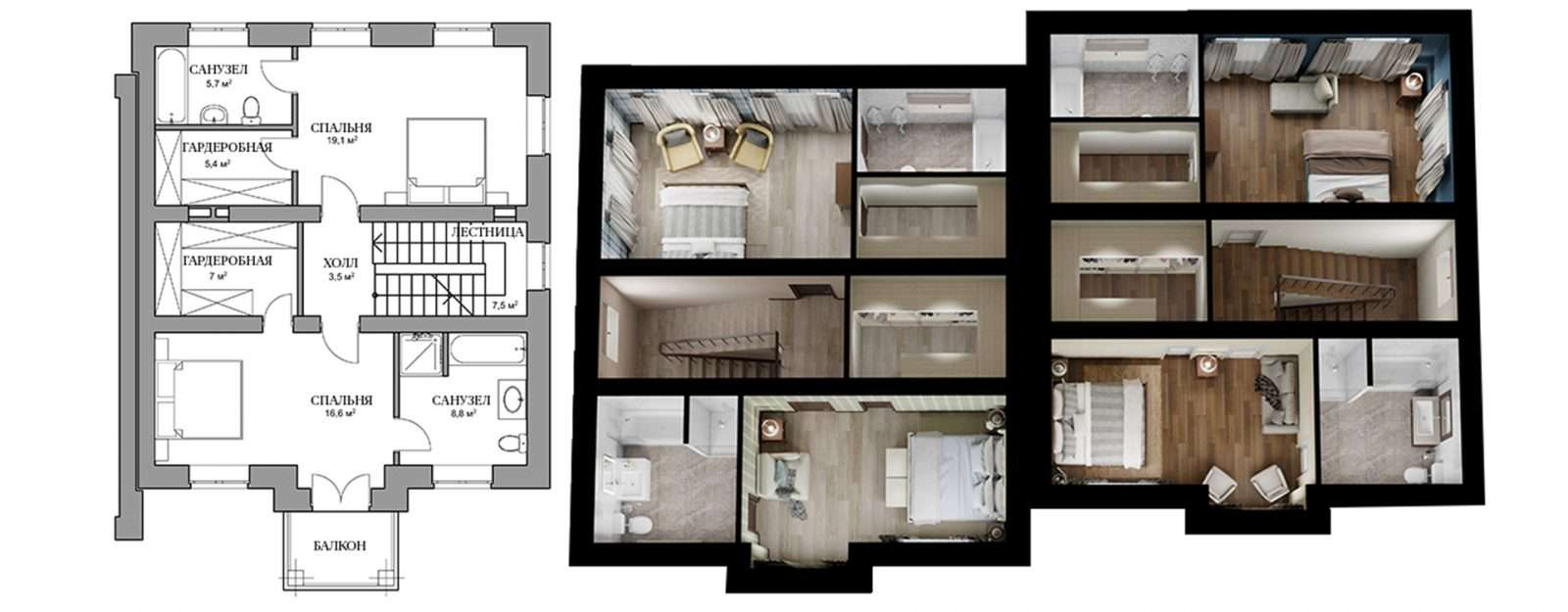 Дуплекс «Саманта» - план второго этажа