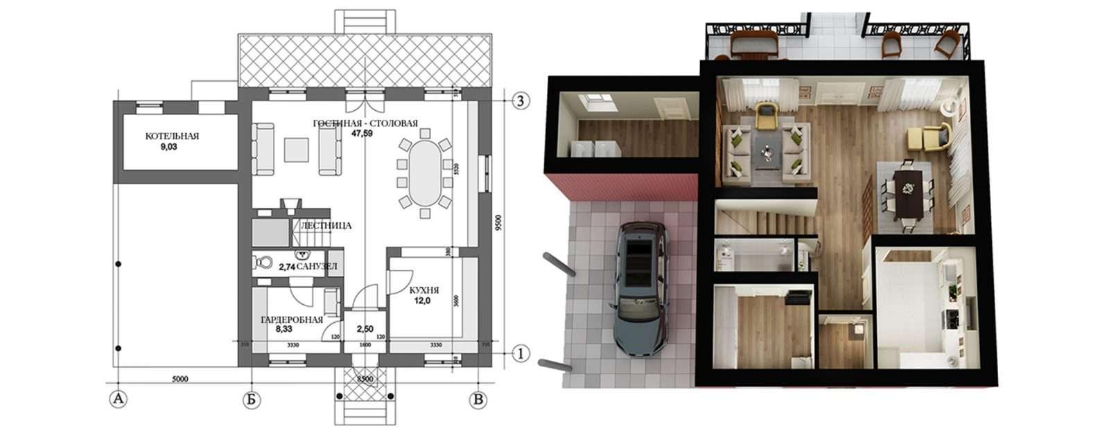 Коттедж «Агата» - план первого этажа