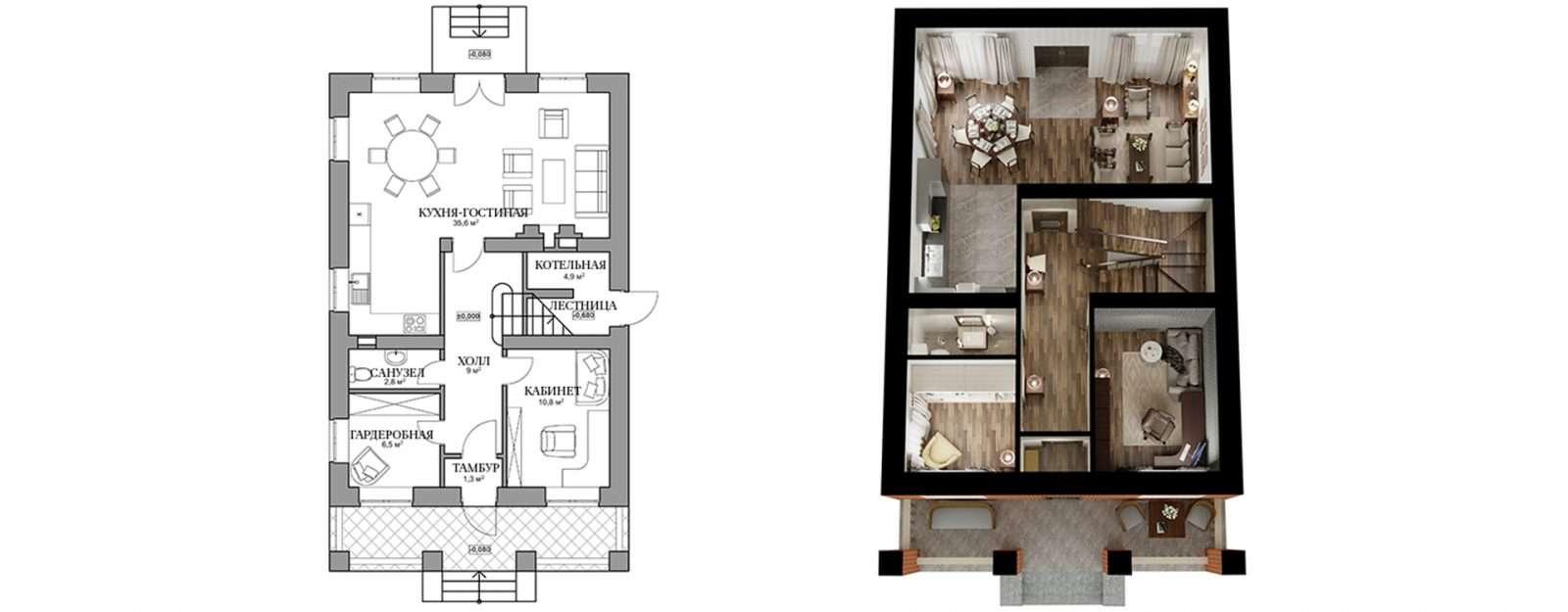 Коттедж «Бет» - план первого этажа