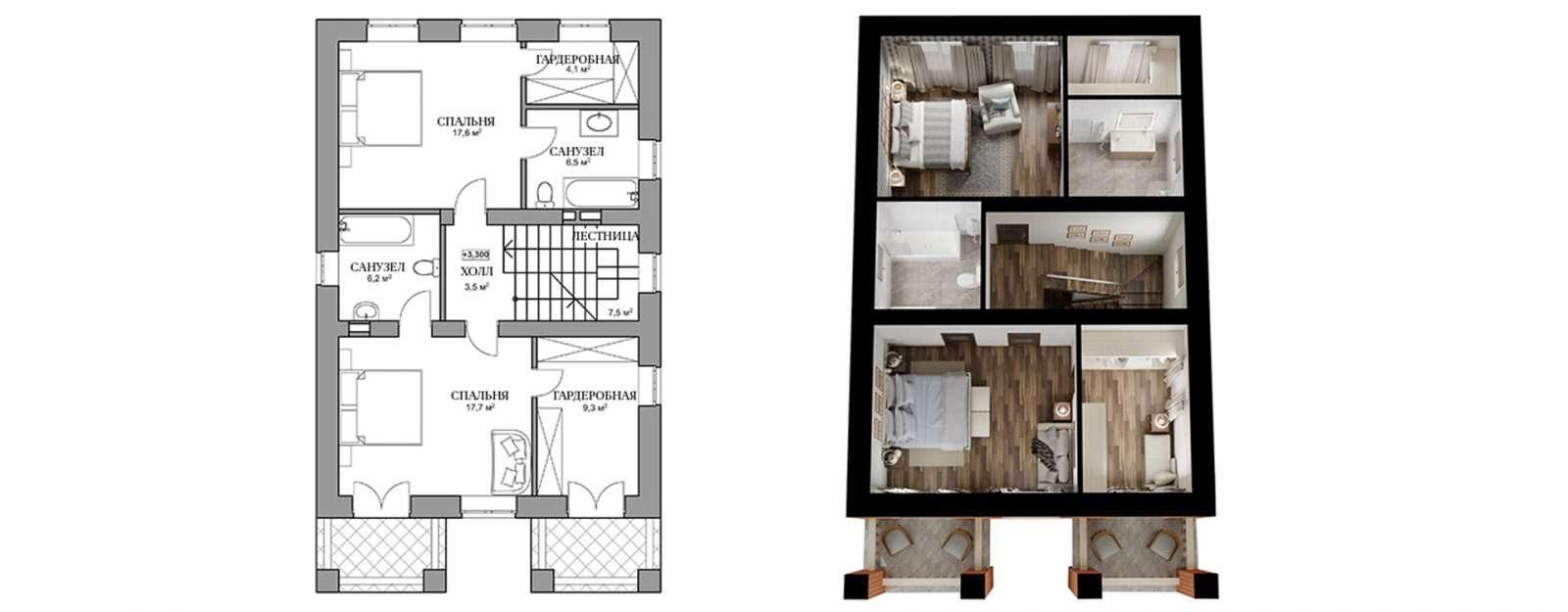 Коттедж «Бет» - план второго этажа
