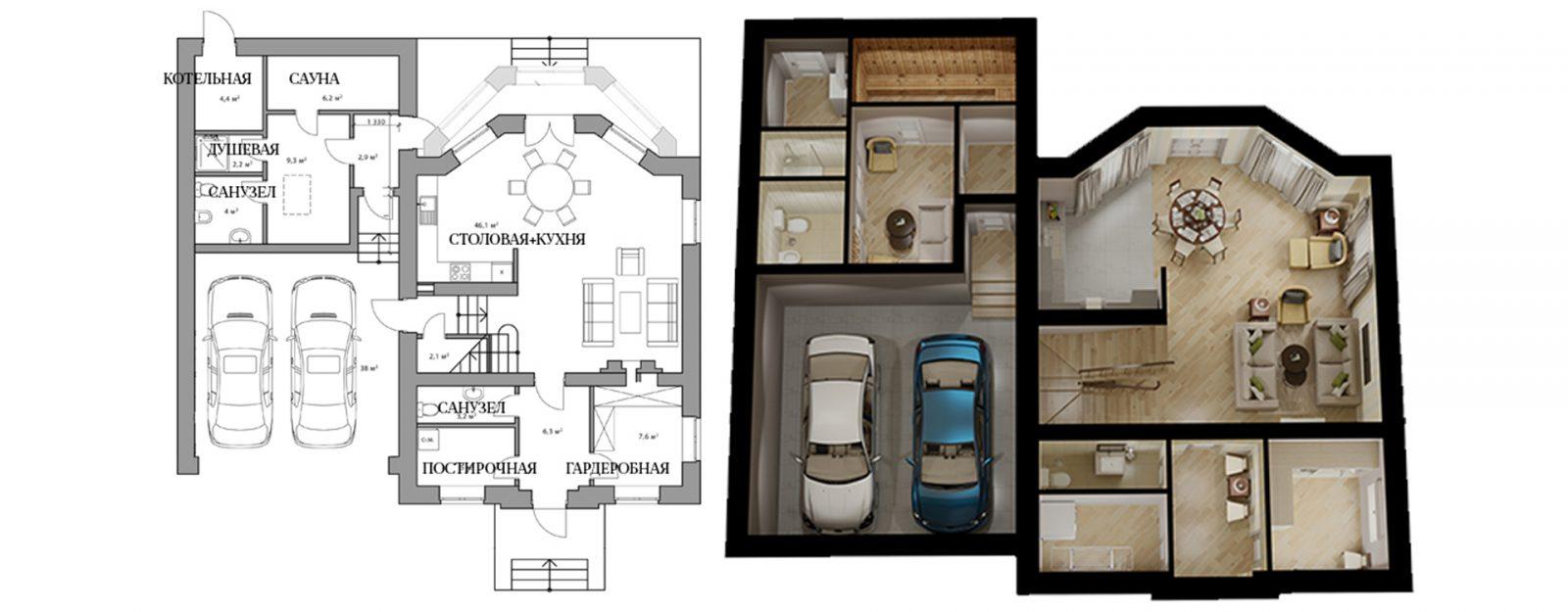 Коттедж «Одри» - план первого этажа