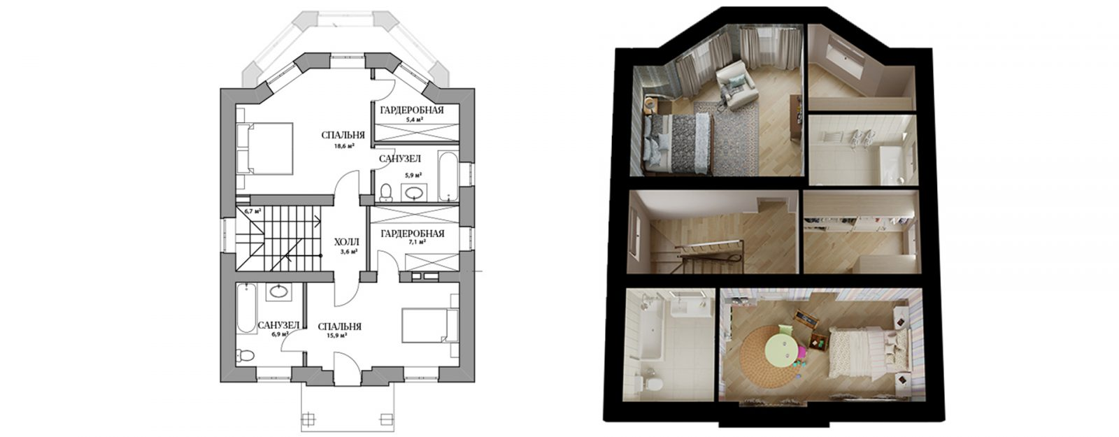 Коттедж «Одри» - план второго этажа