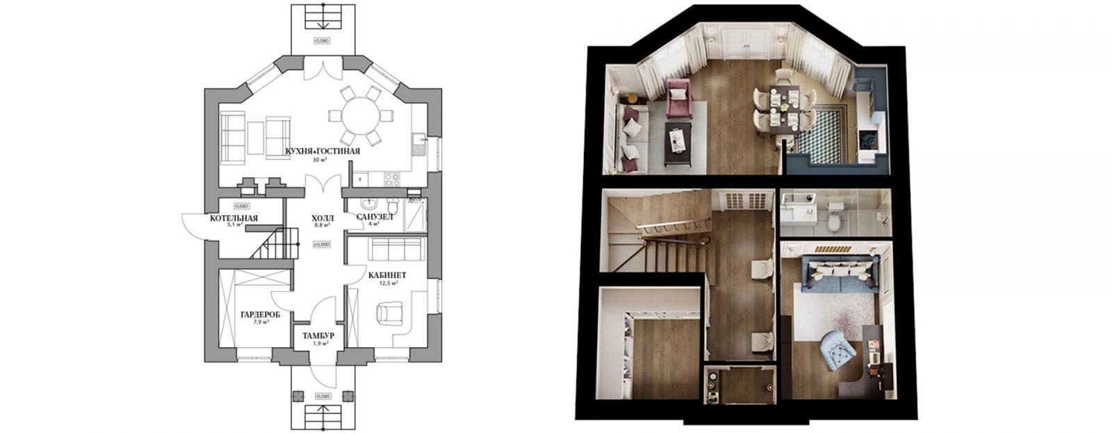 """Планировка первого этажа коттеджа """"Одри"""""""