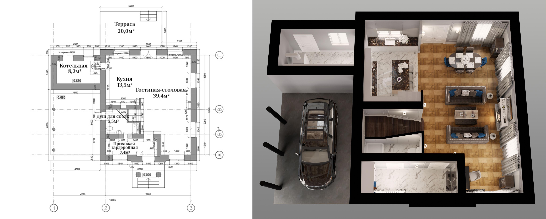 """Планировка первого этажа в коттедже """"Джейн"""""""